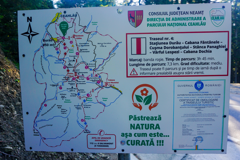 Harta Trasee Ceahlau